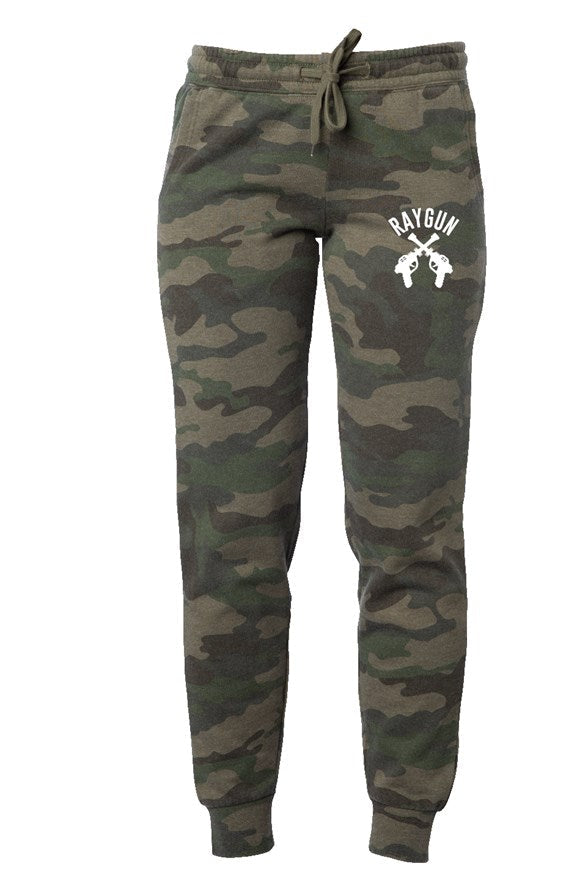 RAYGUN Double Guns on Women's Camo Joggers.
