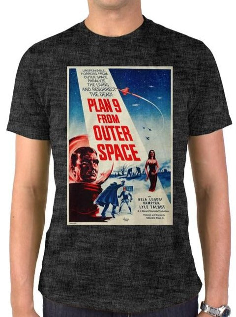 RAYGUN Plan 9 From Outer Space Vintage Heather Blend Charcoal T-Shirt