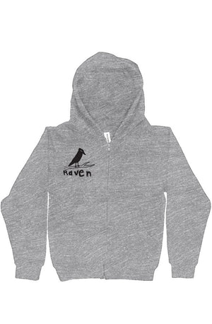 Open image in slideshow, Raven Artists Raven Logo Athletic Grey Youth Zip Up Hoody