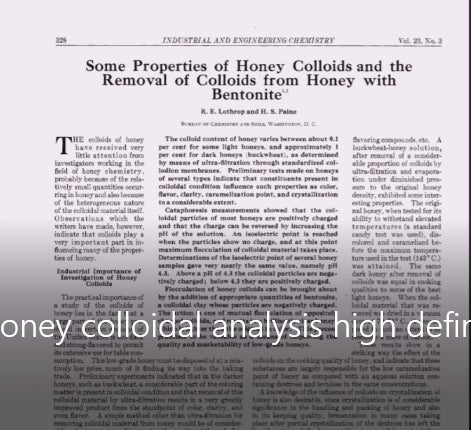colloidal nanoparticles in honey