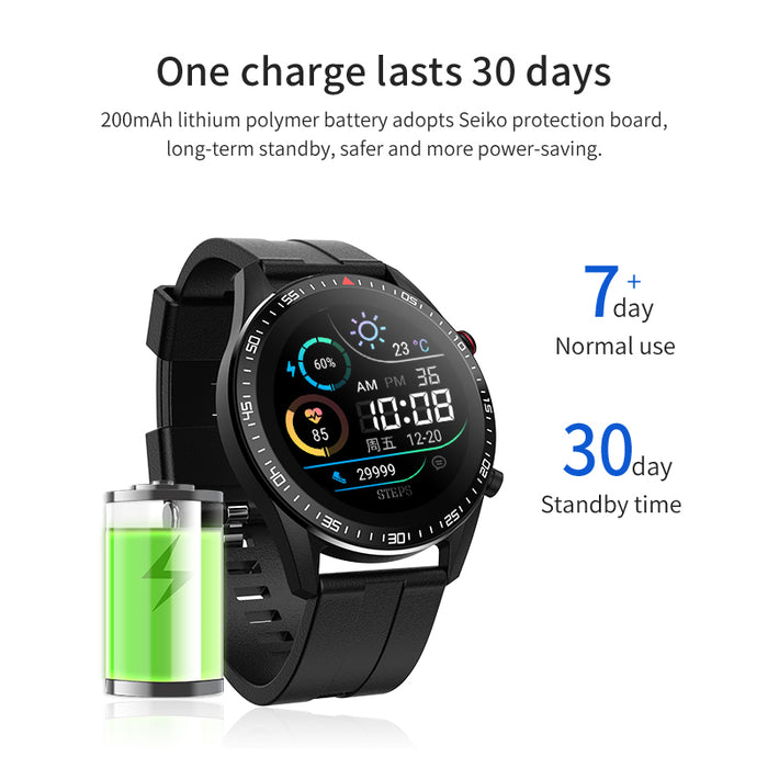 Thermometer Full Round Screen Full Touch IP68 Waterproof Smartwatch - Aolon