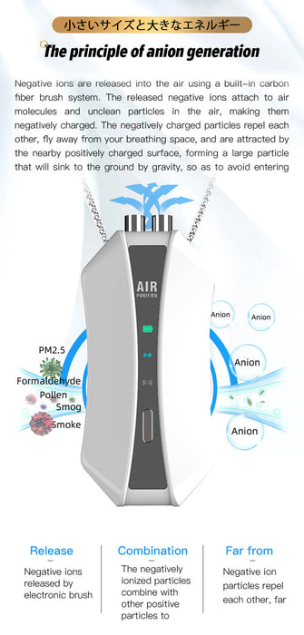 Aolon Negative Ion Air Freshener ionizer Necklace Mini Personal Air Purifier - Aolon