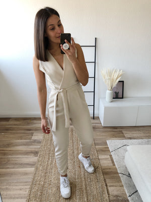 Suit Up Jumpsuit, beige