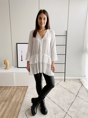 Pleated Longbluse, weiß