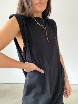 Big Shoulder Minikleid, schwarz