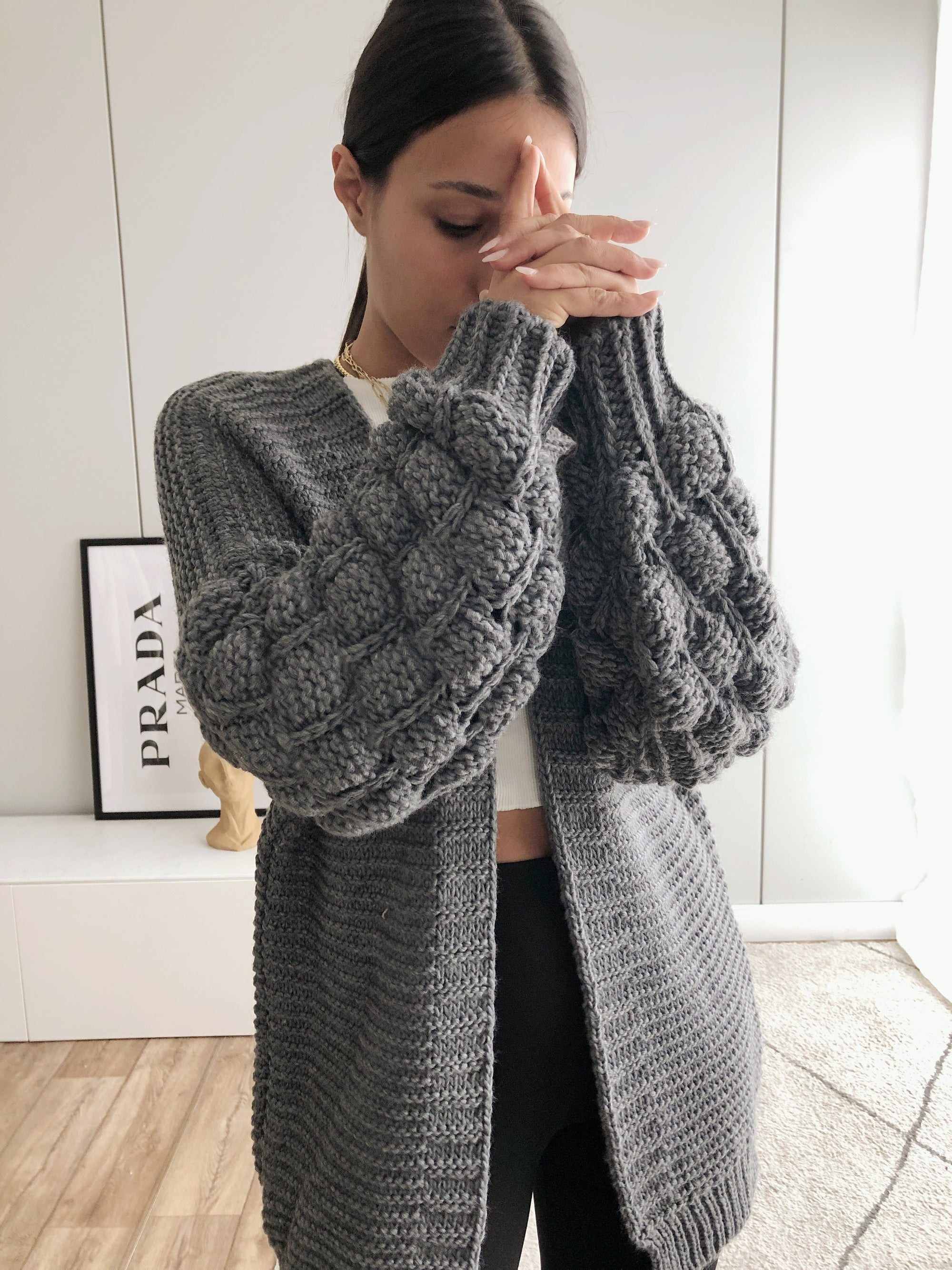 Bubble Cardigan, dunkelgrau