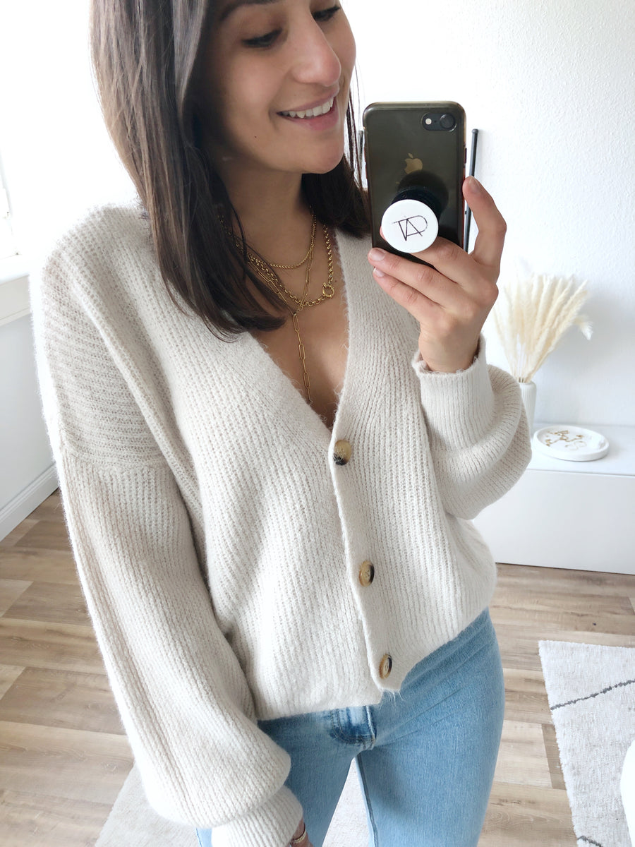 Fluffy Cardigan, beige