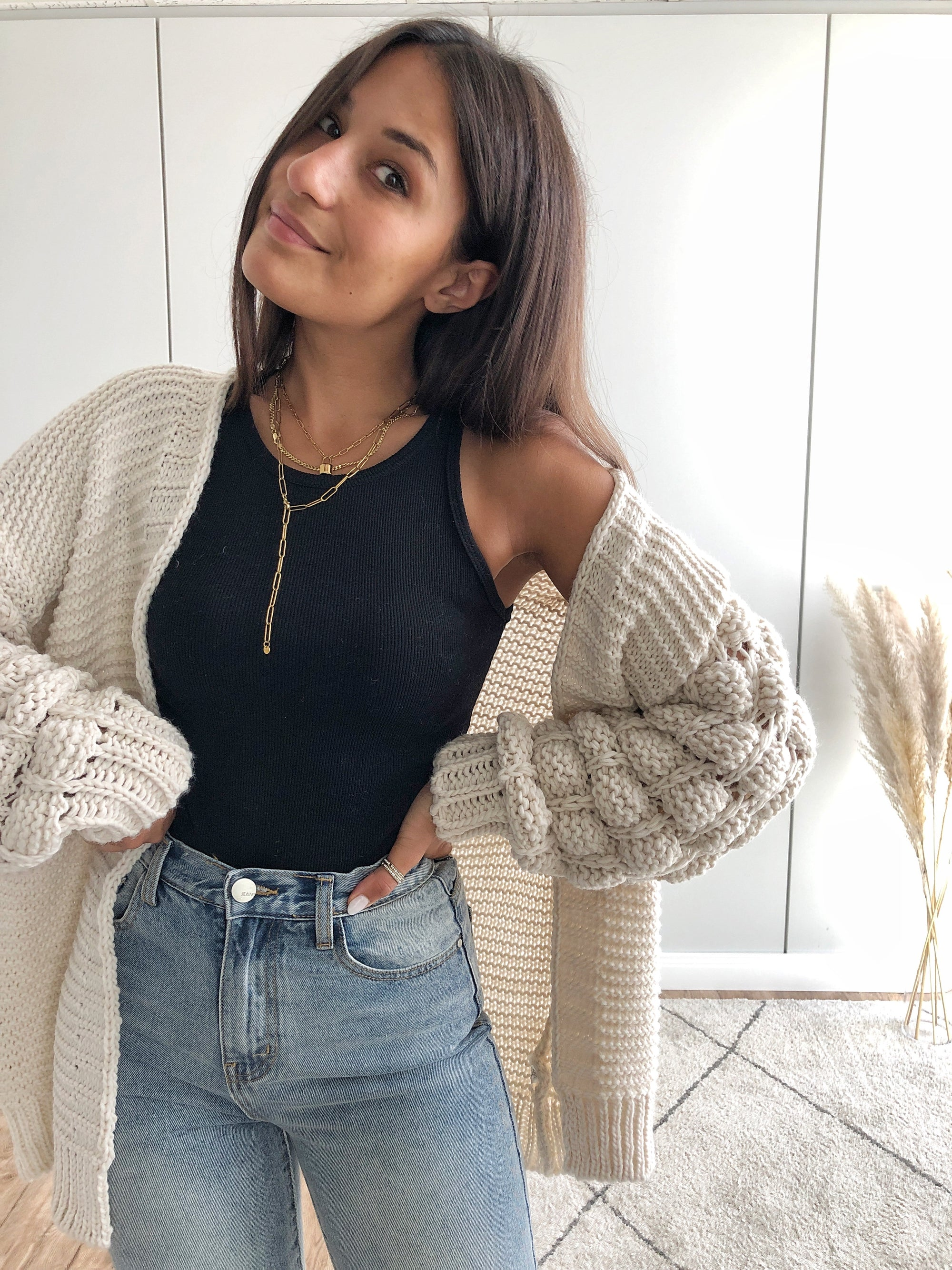 Bubble Cardigan, beige