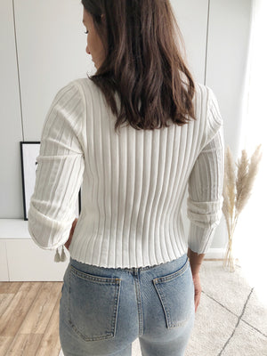 Button Pullover, weiß