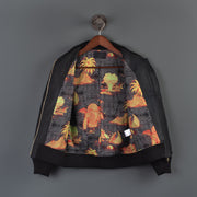 Nine Lives Black/Indigo Skin of Cthulhu Sashiko Bomber Jacket