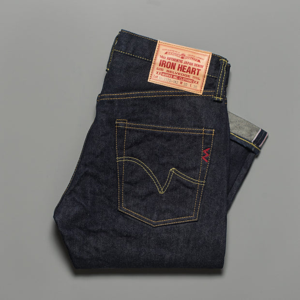 Iron Heart Indigo 14oz Selvedge Denim Super Slim Tapered 777 Cut Jeans