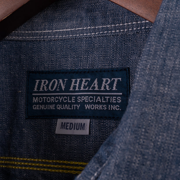 Iron Heart 10oz Selvedge Chambray Work Shirt - Blue