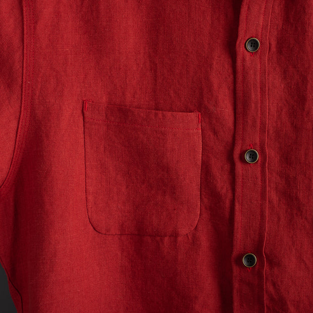 Nine Lives Barn Yard Red Marshall Islander Short Sleeve Linen Shirt