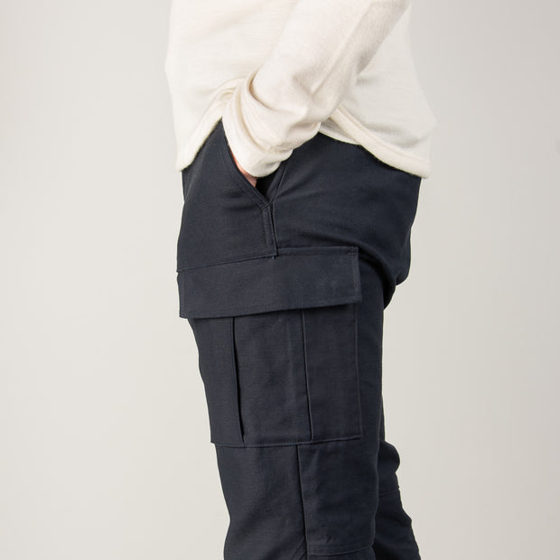 Nine Lives Navy Mil Back Satin Cargo Pants