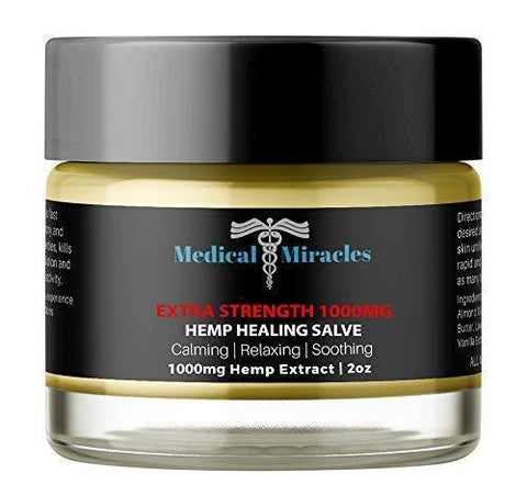 Hemp Pain Cream Salve - Extra Strength 1000mg Full Spectrum Hemp Extract - Fast Muscle and Joint Pain Relief. 2oz