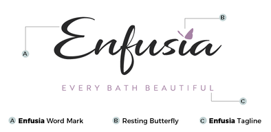 Enfusia's new logo with the Word Mark, Resting Butterfly graphic, and Tagline highlighted