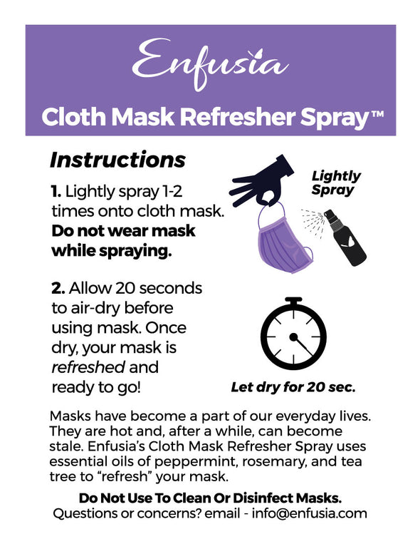Cloth Mask Refresher & Deodorizer Spray with pure essential oils