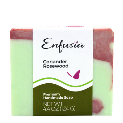 Coriander Rosewood Premium Soap Green with Red Swirl