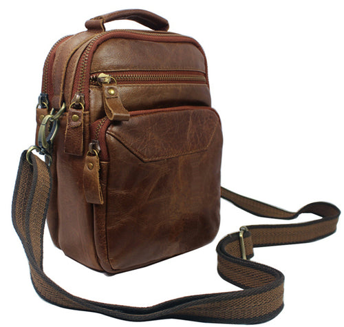 Fashion Crossbody bag Genuine Leather Men shoulder bag Leather men messenger bag male Leisure bag small Sling Handbag tote Brown
