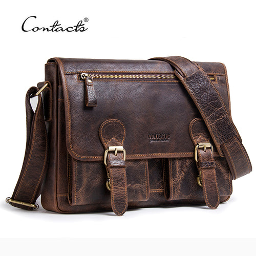 Genuine Crazy Horse Cowhide Leather Men Messenger Bag