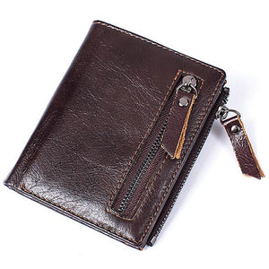 MVA Men Wallets Male Purse Genuine Leather Wallet with Coin Pocket Zipper Short Credit Card Holder Wallets Men Leather Wallet