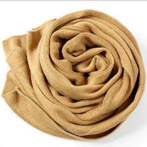 Korean Simple Solid Color Warm Winter Scarf Women 220cm Elastic Knitted Wool Ring Scarves Shawl Amazing Blanket Scarf Echarpe