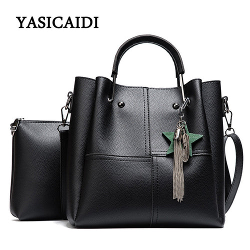 Striped Patchwork Women Shoulder Bags Fashion Pu Leather 2pcs Composite Bag Famous Brand Women Bag Tassel Female Handbag Sets