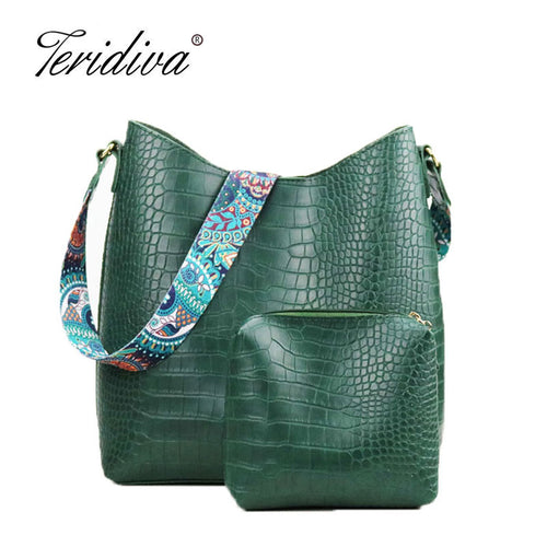 Teridiva Brand Women Handbags Hobo Bag Crocodile Handbag Women's Shoulder Bags Hobos Large Capacity Shopping Bag Printing Purse