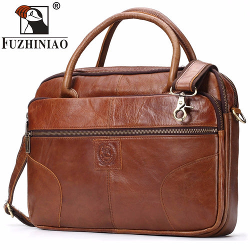FUZHINIAO Men's Briefcase Tote Men Messenger Bag Brands Travel Laptop For Document Business Genuine Leather Shoulder Bags Male
