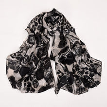 [BYSIFA] Brand Blue Green Silk Scarf Shawl Female Accessories Spring Autumn Floral Pattern 100% Silk Women Long Scarves Wraps
