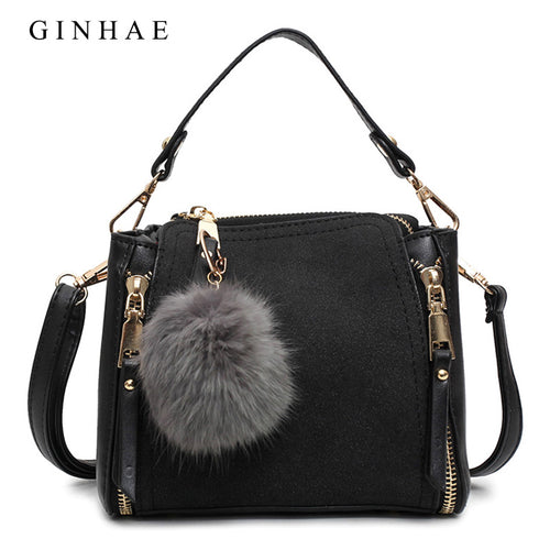 Luxury Women Pu Leather Tote Bag Female Zipper Handbags New Fashion Ladies Small Messenger Bags Vintage Solid Suede Bolsos Mujer