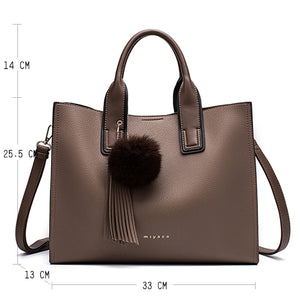 Miyaco Women Leather Handbags Casual Brown Tote bags Crossbody Bag TOP-handle bag With Tassel and fluffy ball