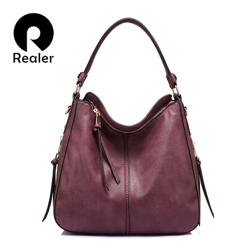 REALER shoulder bag women designer handbag high quality female Hobo bag tote soft artificial leather Large crossbody bags ladies