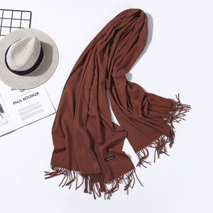 Solid Cashmere Scarves With Tassel