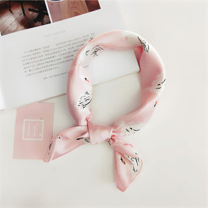 Women 50*50 Small Soft Hair Tie Band Decorative Multifunctional Head Scarf Multicolor Stripe Print Kerchief Neck Elegant Square