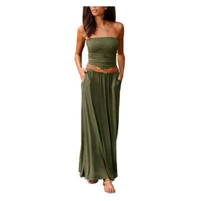 Free-Spirited Off Shoulder Dress - Army Green / L