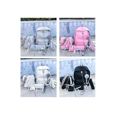 Trifecta 3 Piece Backpack - Solid Pink Set / 30x13x41cm