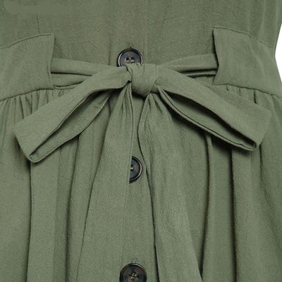 Vintage Bow V Neck - Army Green / L