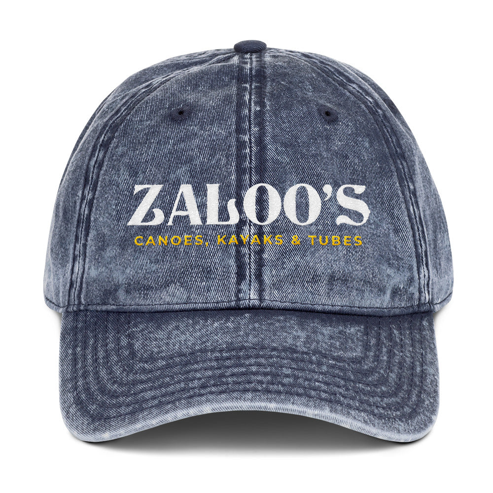 Zaloo's Vintage Navy Logo Cotton Twill Cap