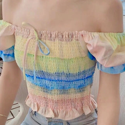Watercolor Pastel Peasant Top