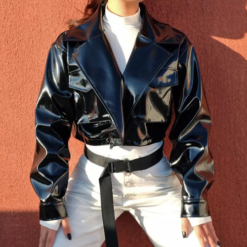 Faux Patent Leather Cropped Jacket