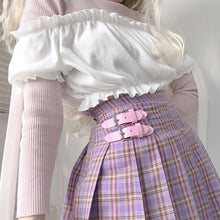 Load image into Gallery viewer, Lilac Plaid Pleated Skirt