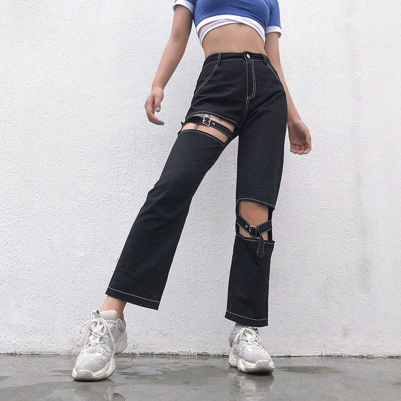 HARSH Contrast Trim Cut-Out Pants