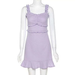 Taro Milk Tea Ruffle Dress