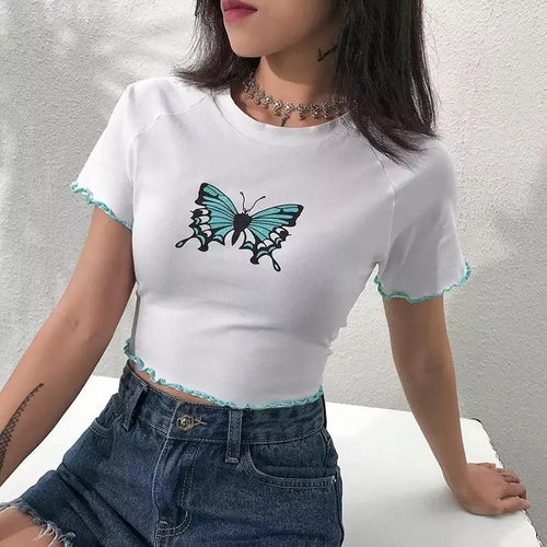 Aqua Butterfly Crop Top