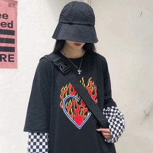 Love's on Fire Checkered Long Sleeve