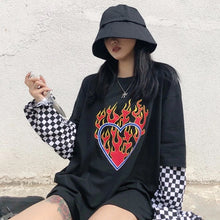 Load image into Gallery viewer, Love's on Fire Checkered Long Sleeve