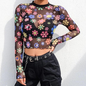 Groovy Daisy Mesh Long Sleeve Top