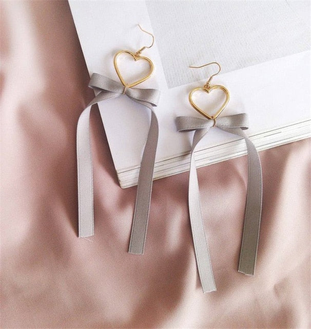 Ribbon Heart Drop Earrings