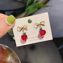 Load image into Gallery viewer, Cherry Vine Drop Earrings